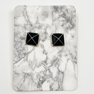 New Black Square Geometric Acrylic Stud Earrings